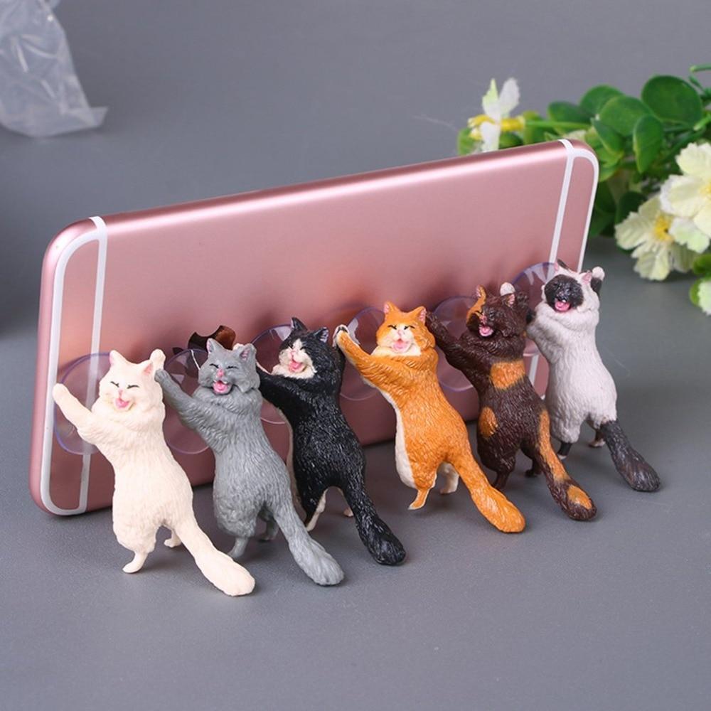 Phone Holder Cute Cat Support Resin Mobile Phone Holder Stand Sucker Tablets Desk Sucker Design high quality Smartphone Holder
