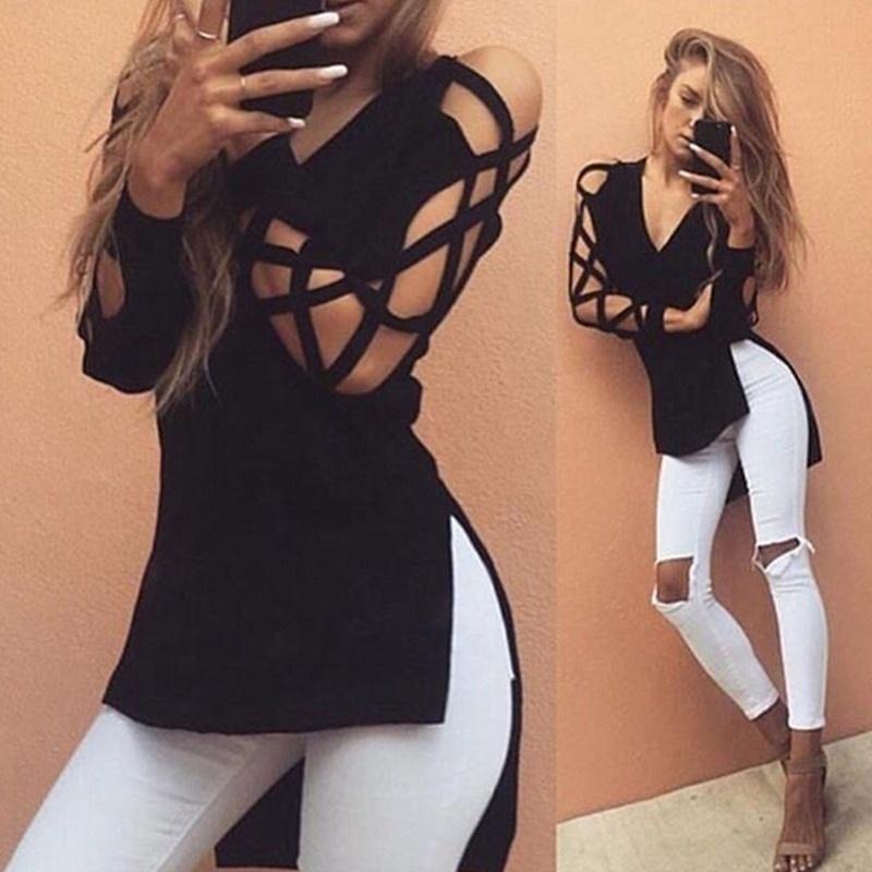 Women Blouse Deep V Cross Strap Long-sleeved Hollow Split T-shirt