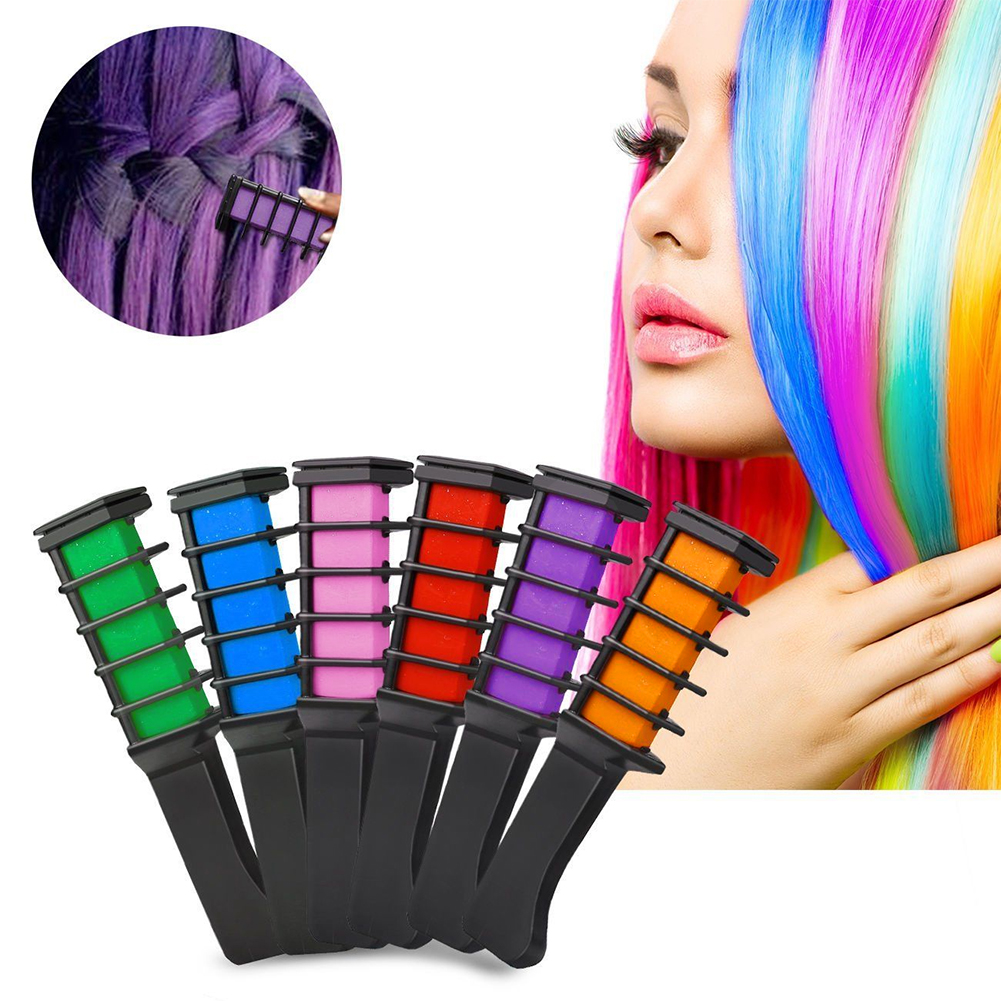 6pcs Temporary Hair Chalk Hair Color Comb Dye Salon Kits