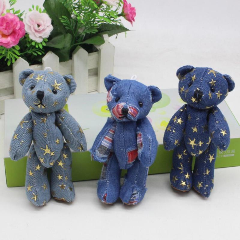 Hot Sale Mini Joint Bear Denim Teddy Bears Plush Toys Wedding Gifts Kids Cartoon Toys Christmas Gifts