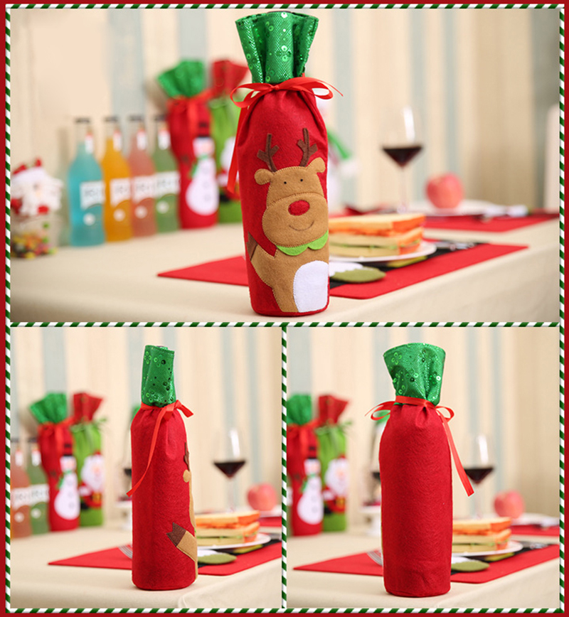 Christmas Bottle Decorations Home Santa Claus Wine Bottle Cover Bag Santa Sack Decoration
