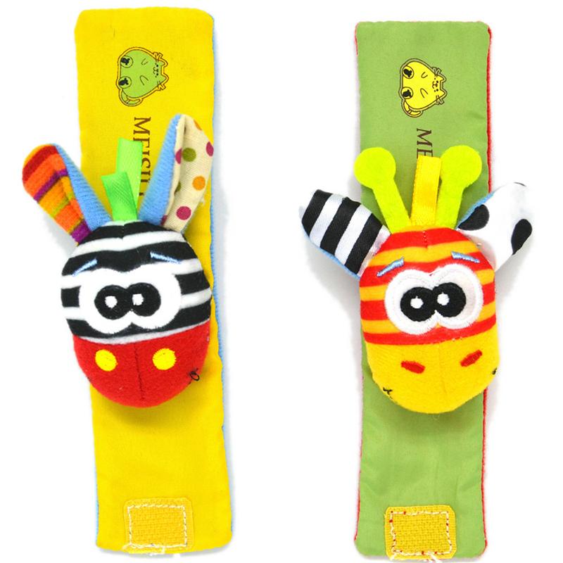 1pc Baby Infant Kids Wrist Rattles Toys Developmental Soft Cute Animal