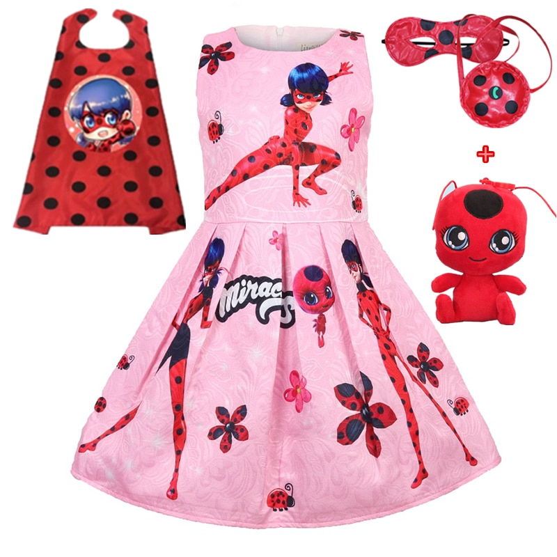 Lady Bug Red birthday Party Dress Miraculous Ladybug Halloween Cosplay Dress Christmas gift Pretty Costume Kids Girls Clothes