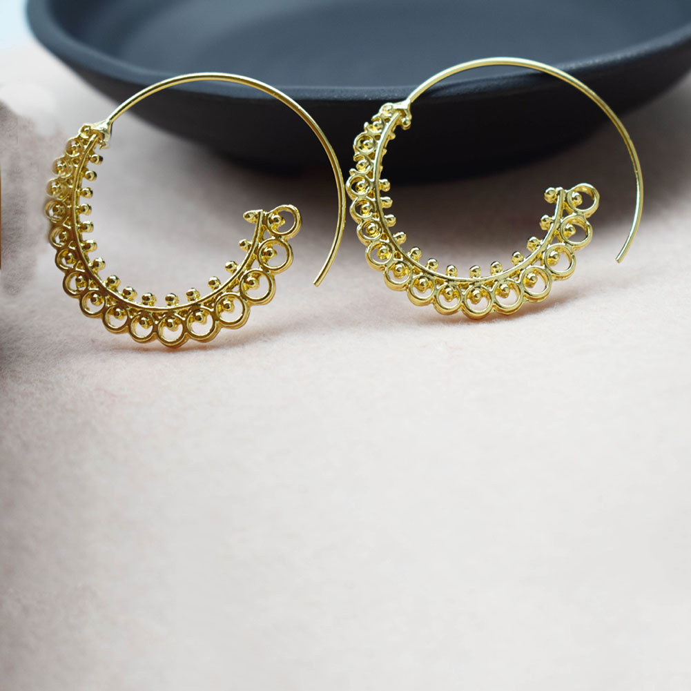 1 Pair Women Retro Boho Bohemian Round Spiral Circle Stud Earrings Lady Ear Jewelry Gift Accessories
