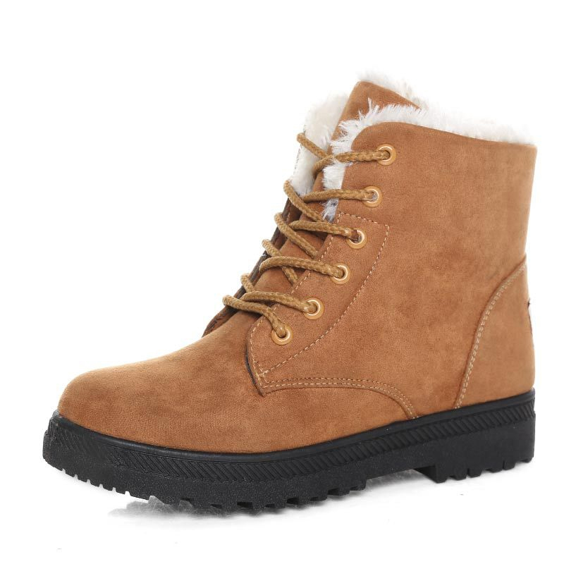 Autumn Winter Casual Warm Thermal Women Flat Ankle Snow Boots Suede Leather Lace-Up Boot