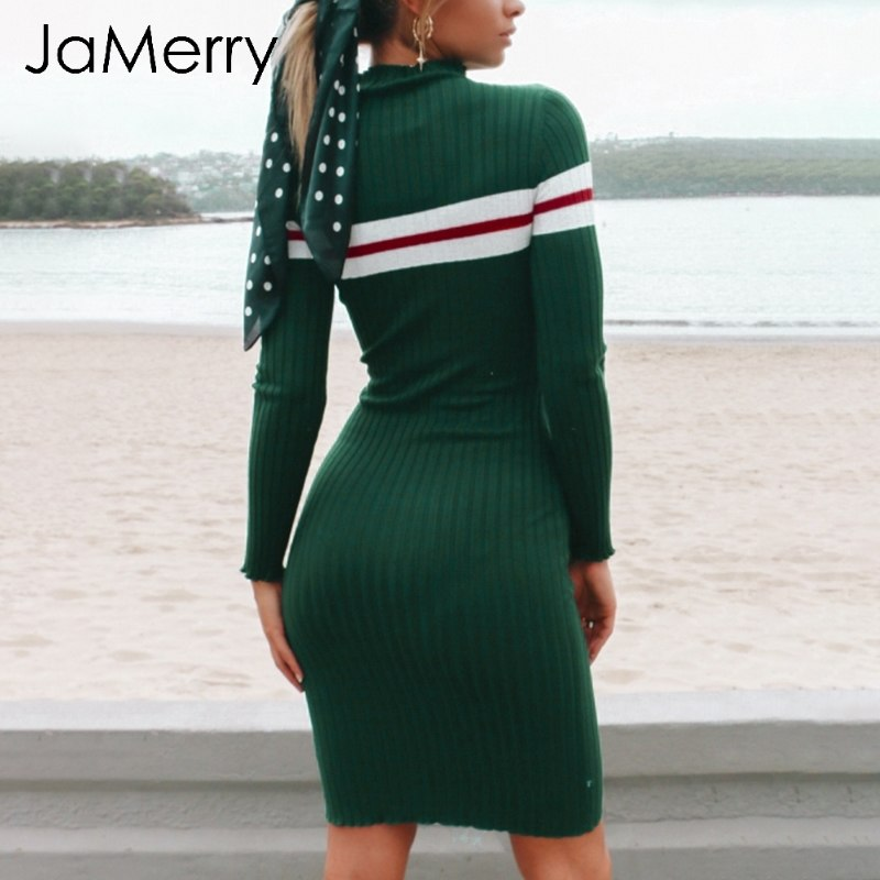JaMerry Casual knitted bodycon sweater dress women Elegant stripe long sleeve dress  2018 Autumn winter short dress female