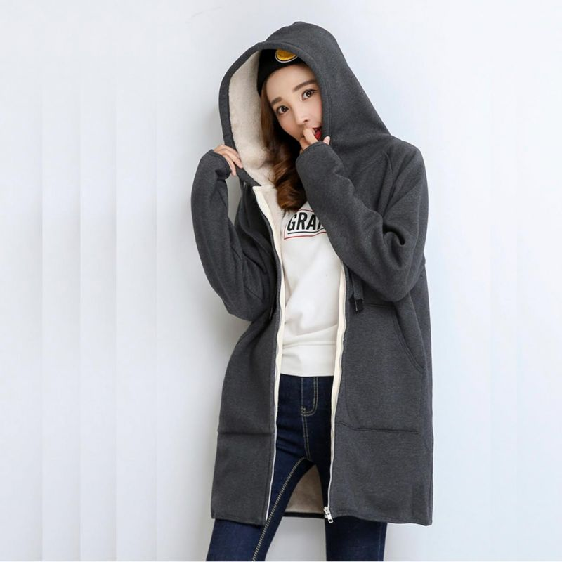 Plus velvet sweater female hooded long cardigan 2018 winter new Korean version of the loose zipper jacket thick warm
