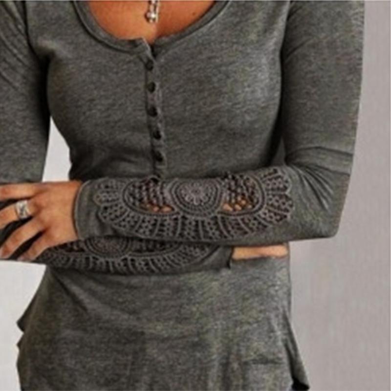 Fashion Women Summer Button Long Sleeve Blouse Casual Tops T-Shirt Lace