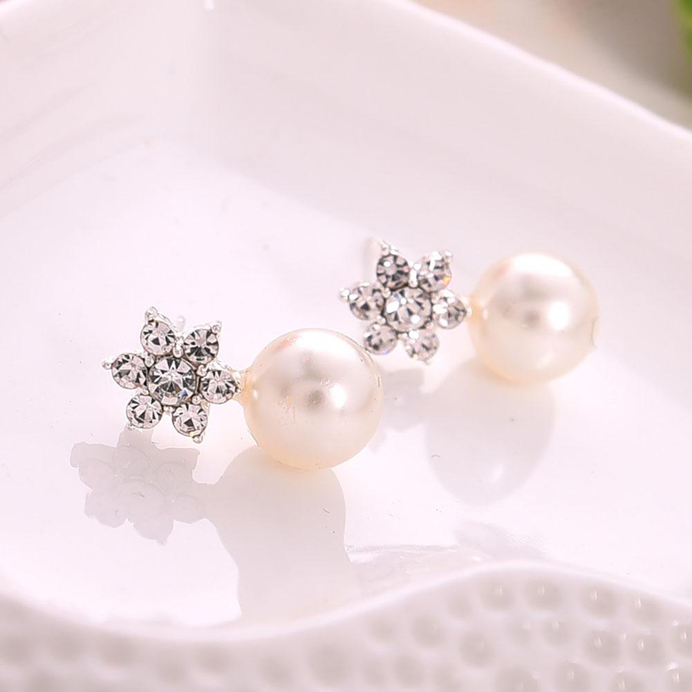 1 Pair Fashion Women Elegant Crystal Rhinestone Pearl Snowflake Ear Stud Earrings Jewelry