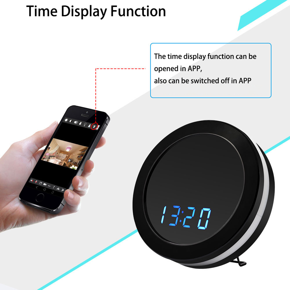 1080P HD Color Mirror Electronic Clock Camera WIFI Video Version Motion Detection