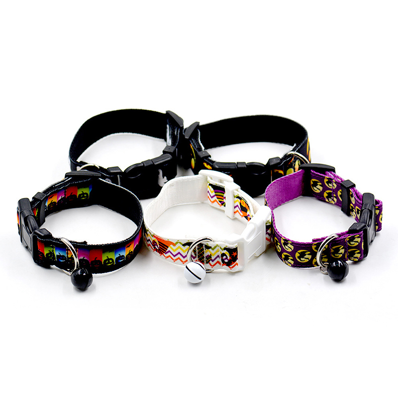 Halloween Puppy Pet Collar Adjustable Bowknot Bell Necklace Buckle Strap