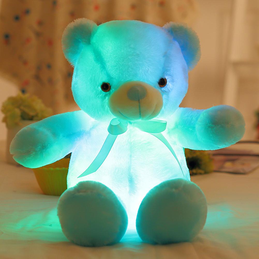 30/50cm Colorfu Light Up LED Bear Stuffed Animals Plush Toy