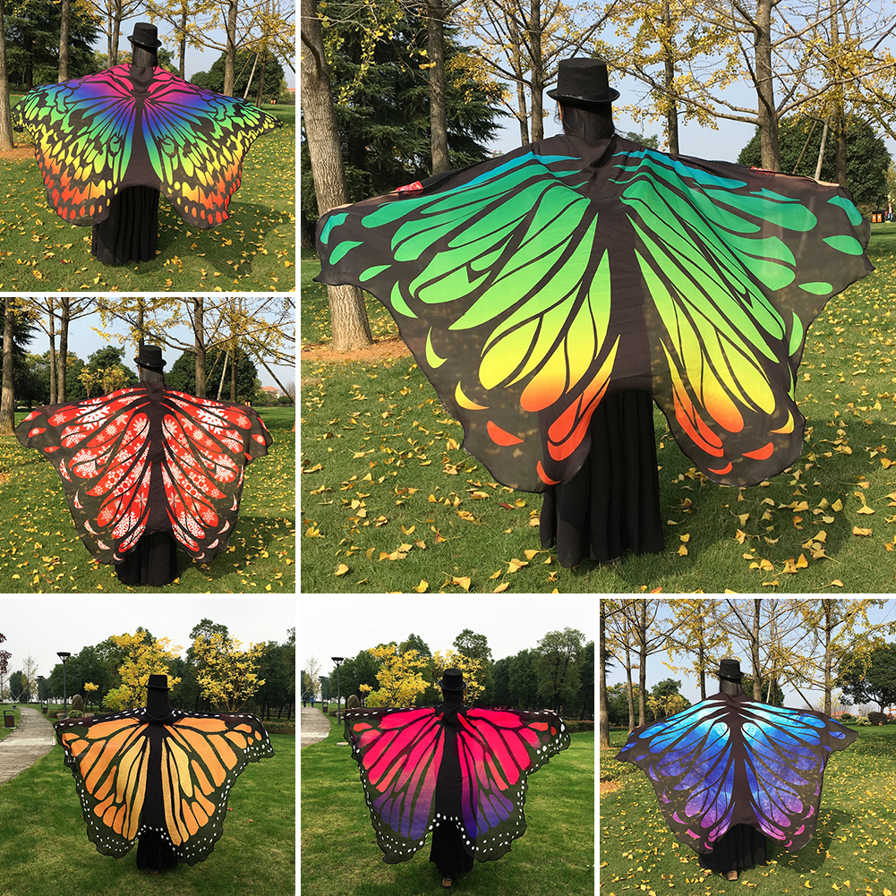 Fashion Women Butterfly Wing Large Cape Scarf Gradient Multicolors Printing Summer Beach Cover Up Chiffon Shawl