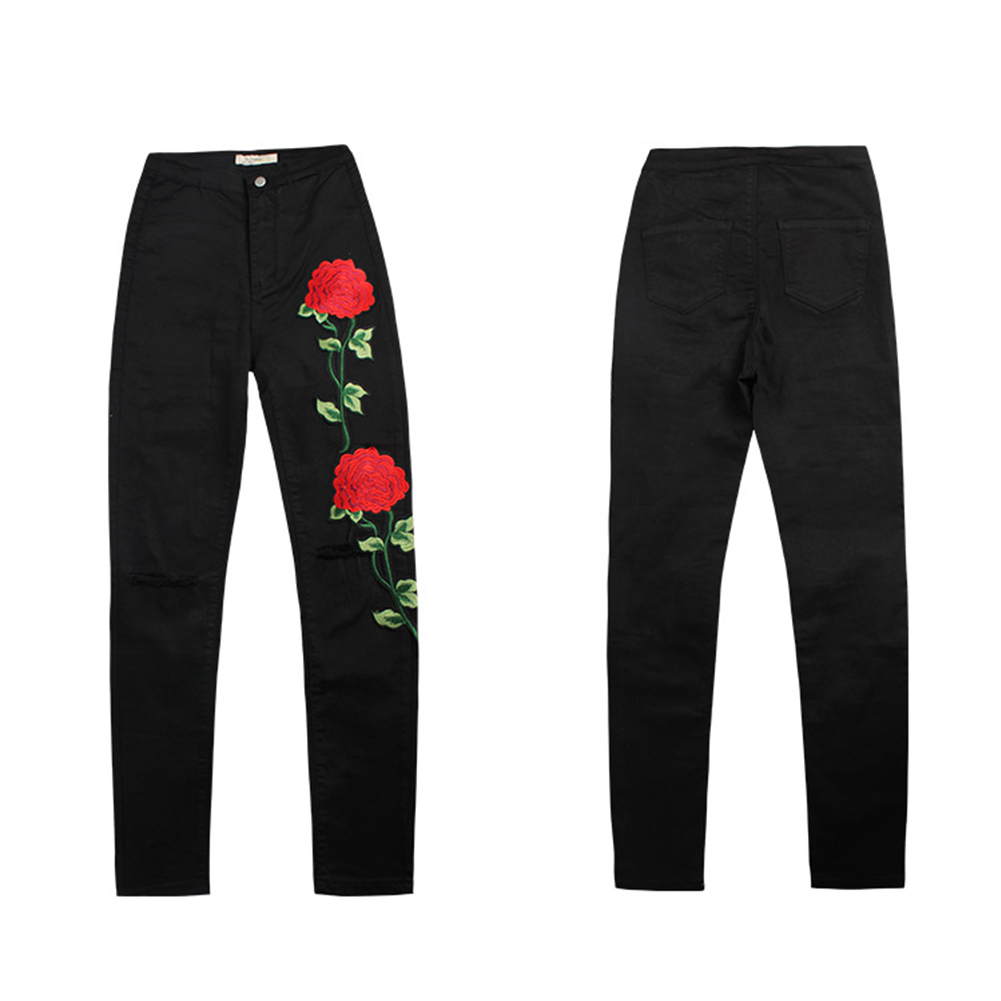 2017 Women's Embroider Flowers Ripped Pencil Stretch Denim Pants Female Slim Skinny Trousers Jeans