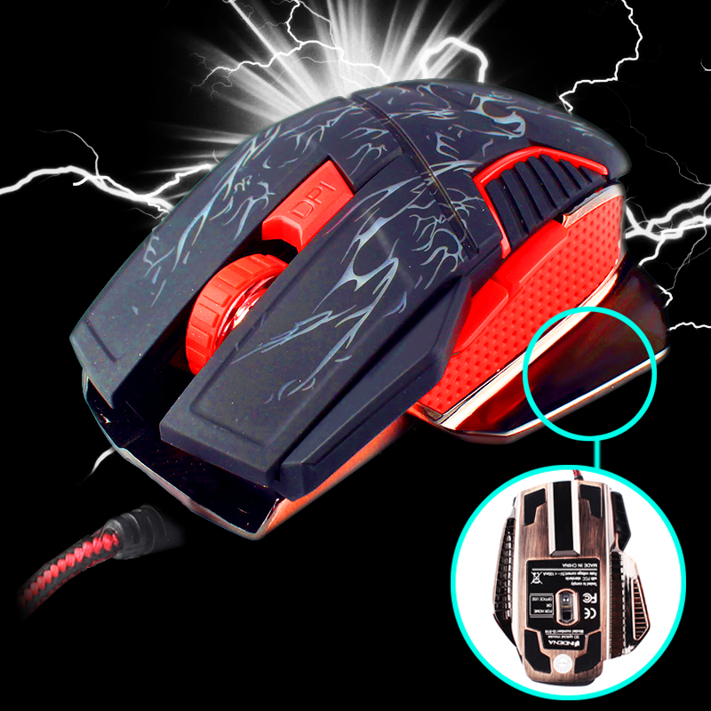 Stylish USB 2.0 Wired 6D Optical LED Game Mouse Mice Adjustable DPI For Laptop PC