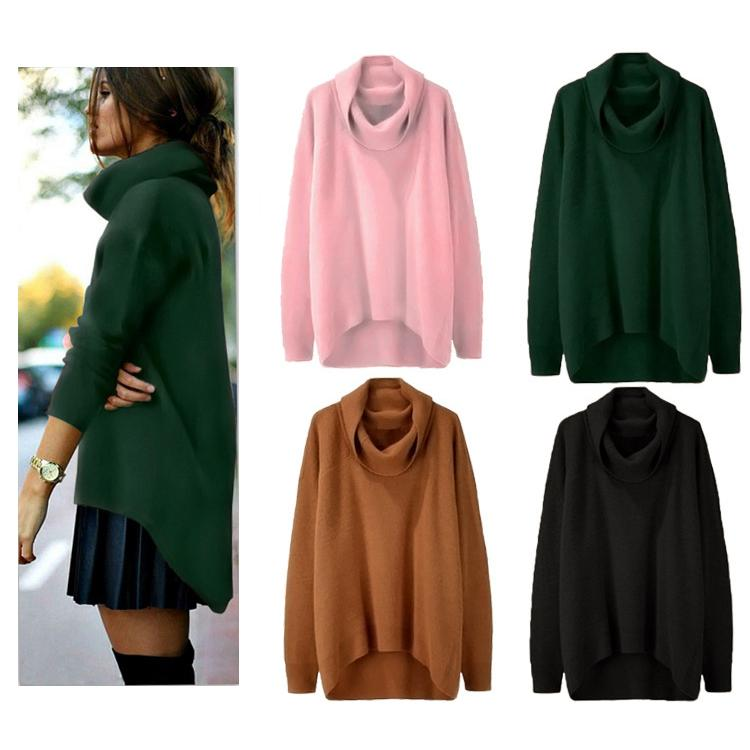 a633106f2a Sexy Knitted Tops Women High Neck Long Sleeve Knitwear Casual Romper Sweater  Loose Winter Warm