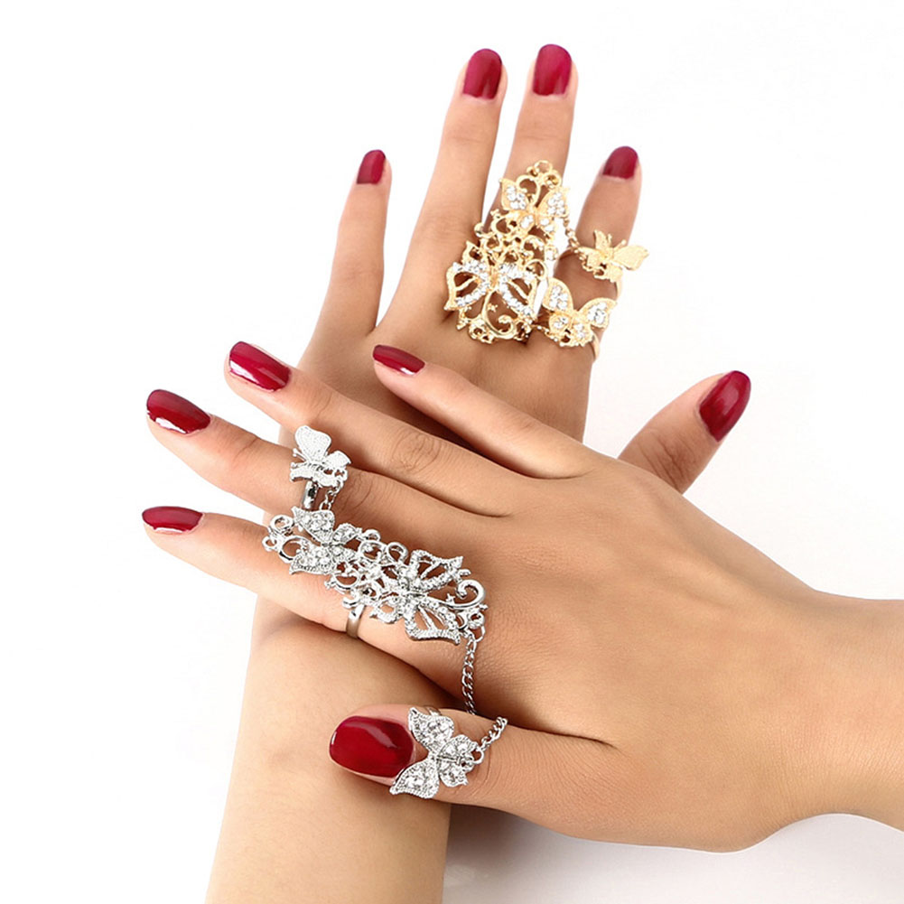 3Pcs/Set Rhinestone Carved Flower Butterfly Full Finger Adjustable Ring Gold Silver Plated Link Chain Rings Jewelry