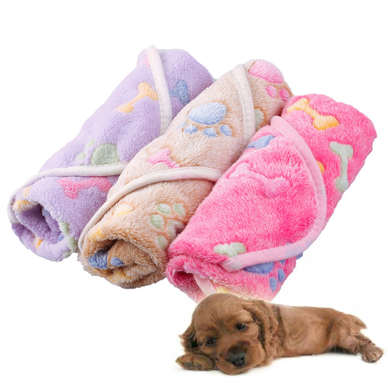 Cute Pattern Pet Warm Paw Print Dog Puppy Fleece Soft Blanket Mat Multi-size