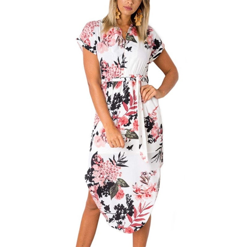 Women Floral Print Beach Dress Fashion Boho Summer Dresses Ladies Vintage Bandage Bodycon Party Dress Vestidos Plus Size S-3XL