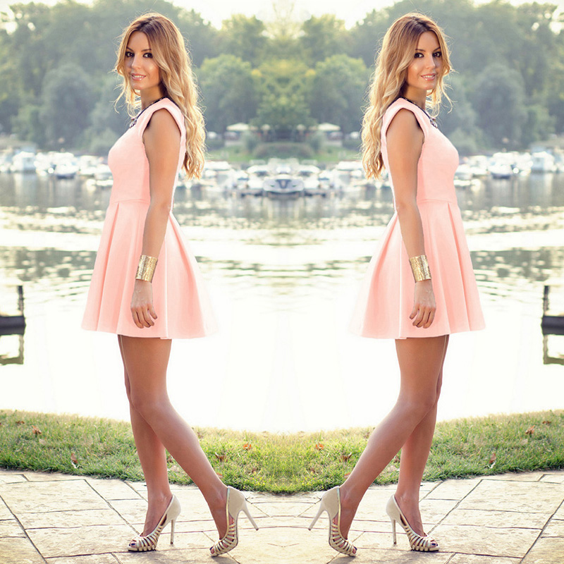 Women Summer Casual Sleeveless Bodycon Evening Party Cocktail Short Mini Dress