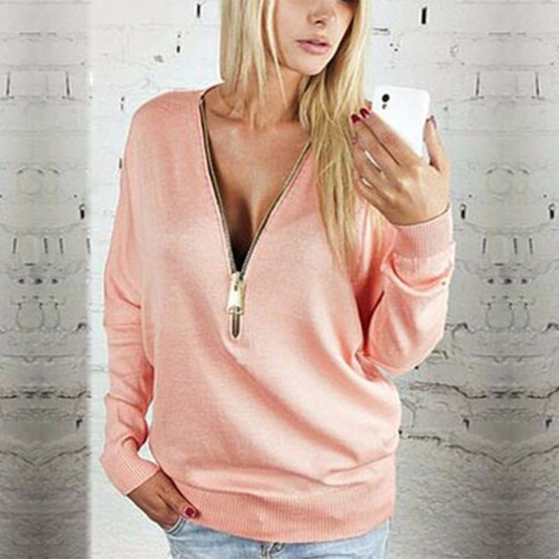 Women Pullover Zipper Sweaters Casual Long Sleeve V-Neck Autumn Loose Jumper