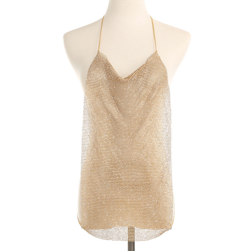 Sexy Beach Bikini Geometric Rhinestones Crystal Silver/Gold Chest Chain Women Harness Bra Necklace Body Jewelry