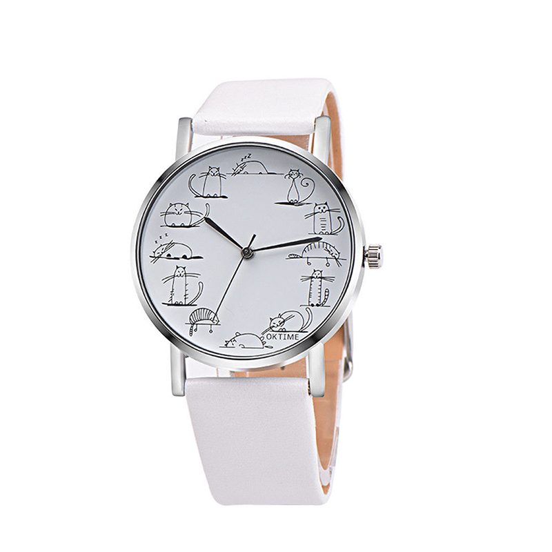Women's Cartoon Leather Band Wristwatch Analog Quartz Stainless Steel Watches
