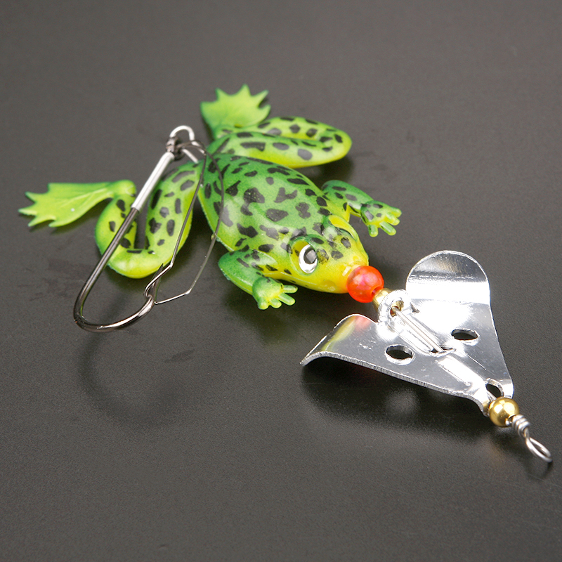 Soft Rubber Frog Fishing Lures Bass Sequin Baits Sinking 9cm 6.2g