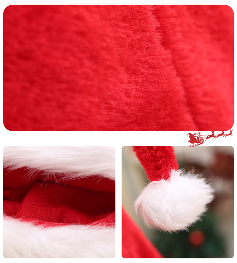 Christmas Santa Claus Long Hat Red White Cap Costume Xmas Adult Xmas Long Hats