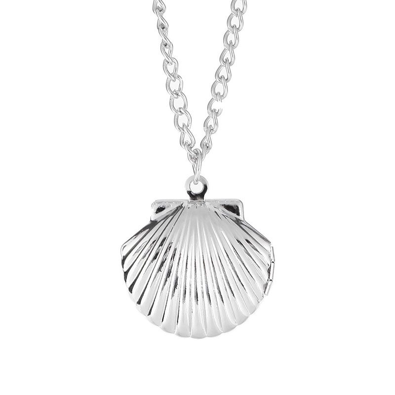 Stylish Seashell Ariel Mermaid Pendant Locket Necklace Ocean Beach Imitation Pearl Nautical Cute Women Jewelry