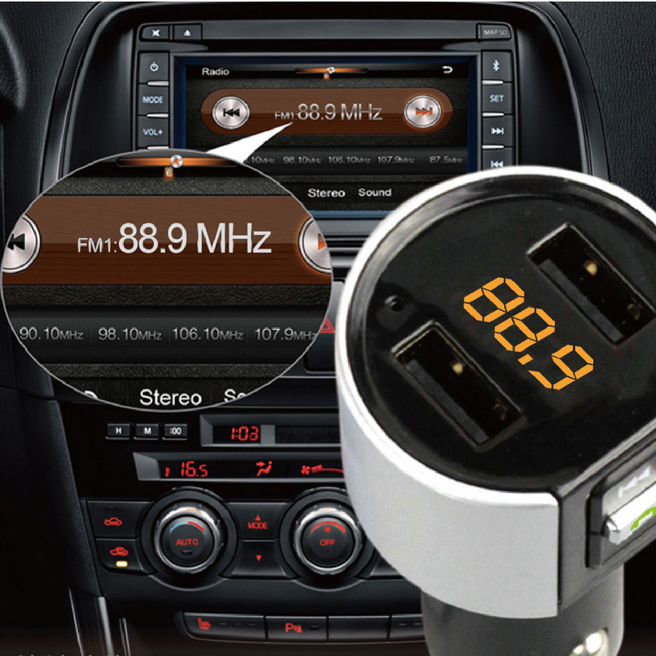 5V 3.4A Dual USB Wireless Bluetooth Car Kit Hands Free Call MP3 Radio Player Charger FM Transmitter C26S