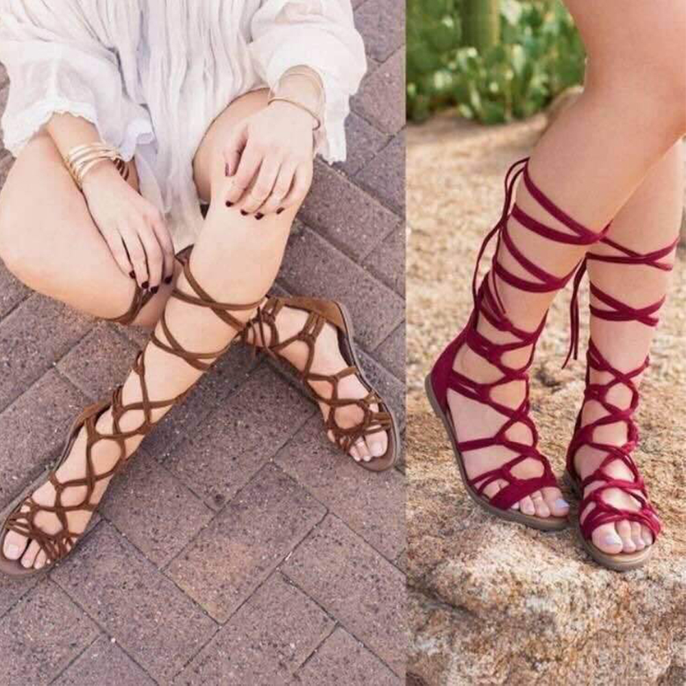Fashion Classic Women Bandage Lace-up Boot Shoes High quality Lace-up Sandals Boots
