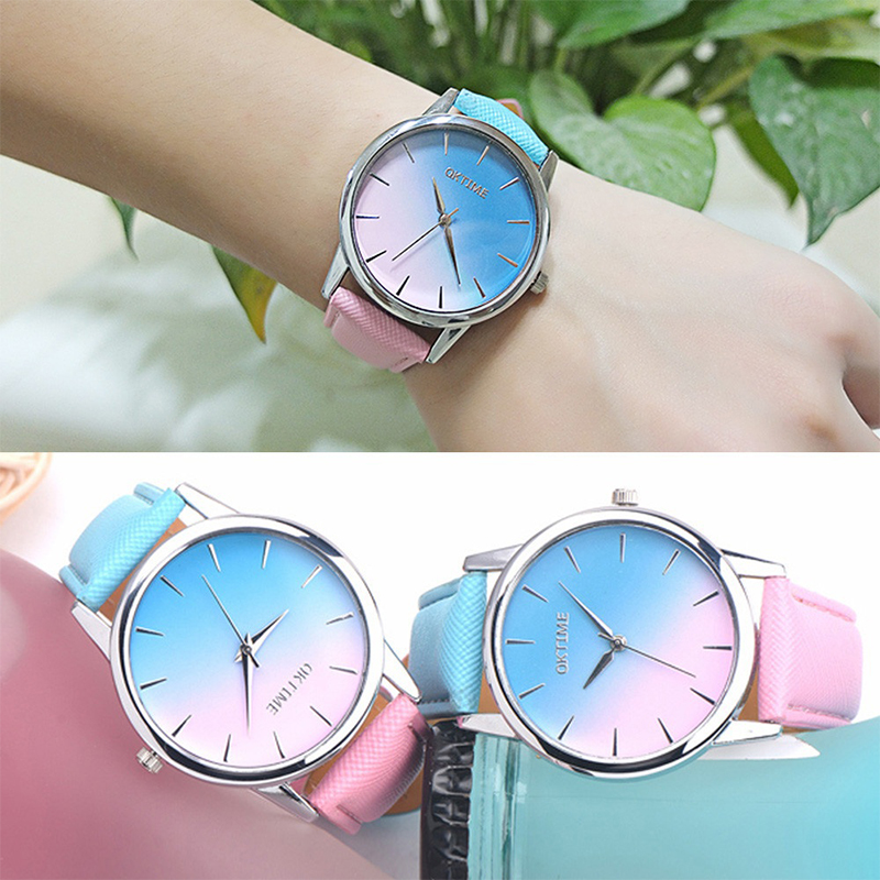 Fashion Retro Rainbow Simple Design Watch Leather Band Analog Quartz Wrist Watches