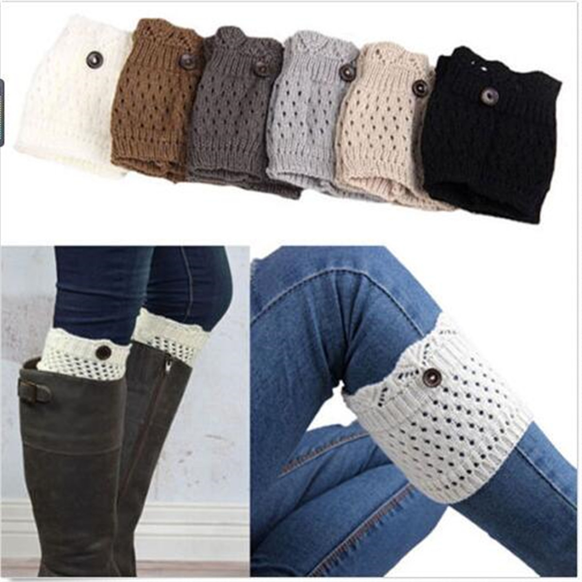 Novelty Fashion Women Winter Crochet Knitted Button Cover Boot Socks Leg Warmers Toppers Accessories