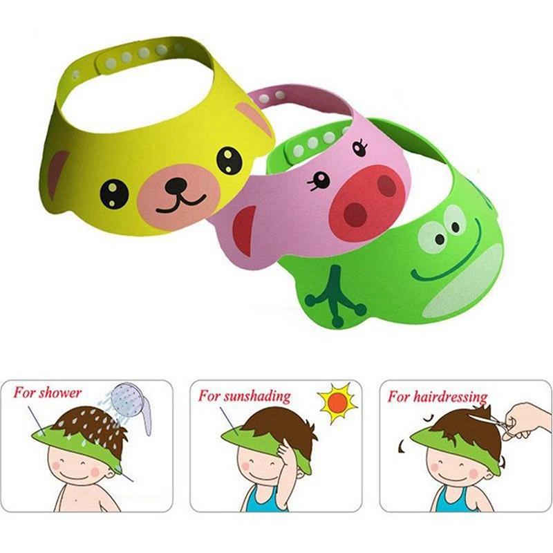 Cute Baby Kids Cartoon Shampoo Bath Bathing Shower Cap Hat Wash Hair Shield Soft