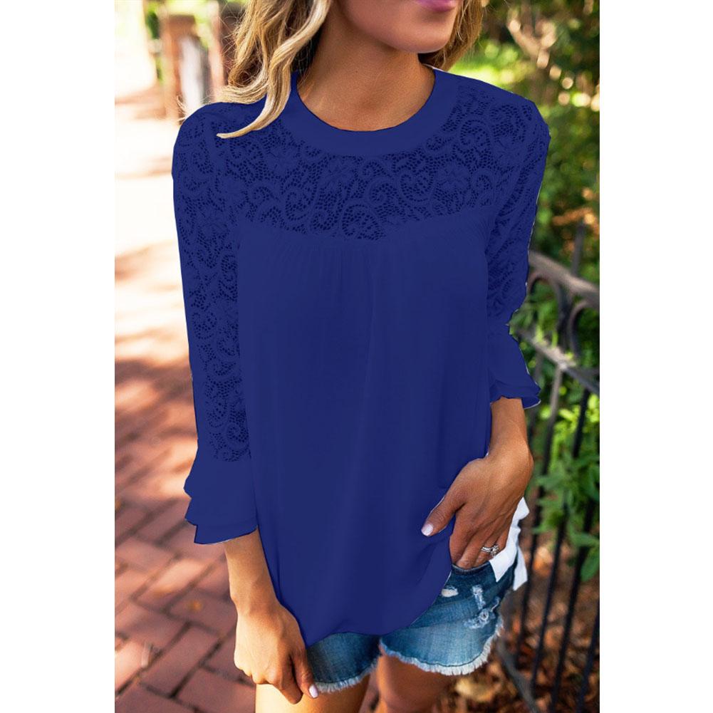 Fashion Women's Tops Casual T-shirt Long-sleeve Hollow Lace Chiffon Blouse