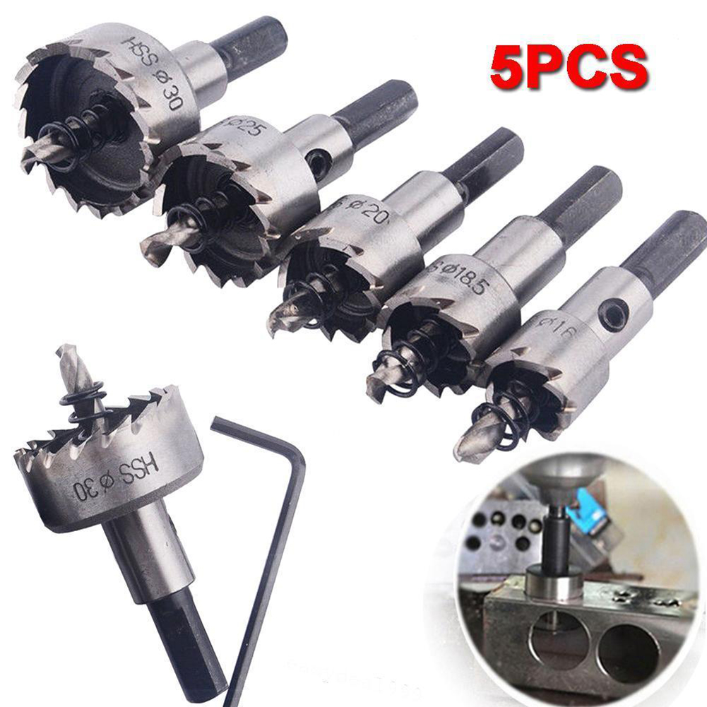 5 Pcs High Quality HSS Drill Bit Hole Saw Set Stainless Steel Metal Alloy 16-30mm Tool Kit