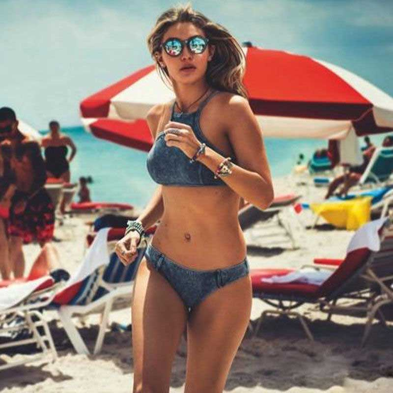Sexy Women Bikini Set Jean High Neck Push Up Padded Swimsuit Bathing Beach
