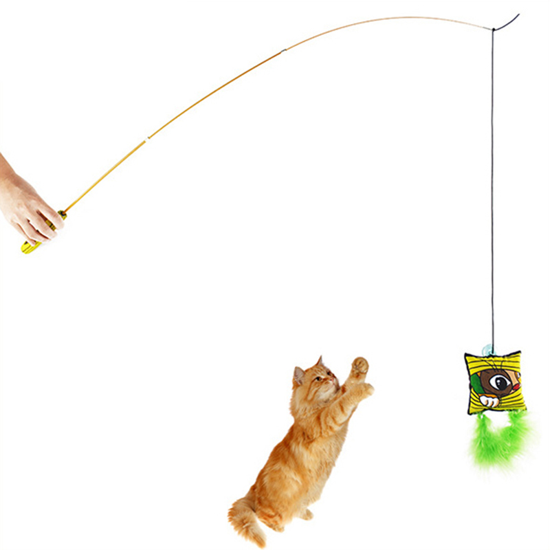 Extensible Kitten Cat Pet Toy Wand Teaser Feather With Bell Beads Fun