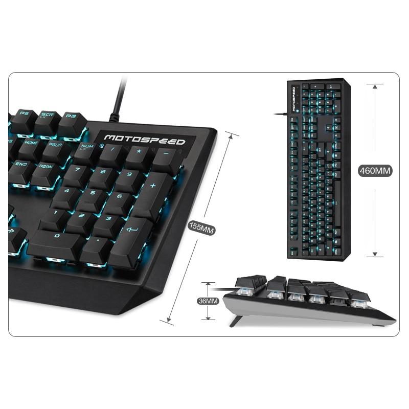 2018 New Motospeed CK95 Wired Real Mechanical Keyboard 104 keys Blue Switch LED Backlit Gaming Keyboard for Desktop Laptop Gamer