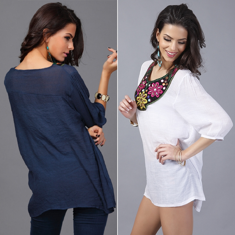 Women Blouses Bohemia Casual Half Sleeve Embroidery Flower Loose Tops Plus Size