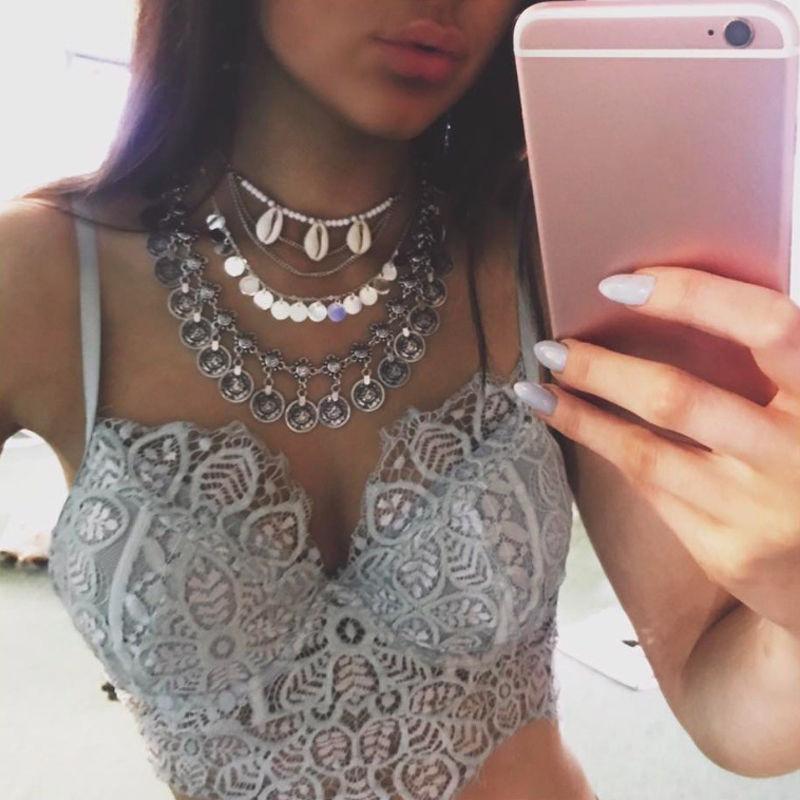 New Women Beach Shell Pendant Choker Chain Statement Bib Necklace Jewelry