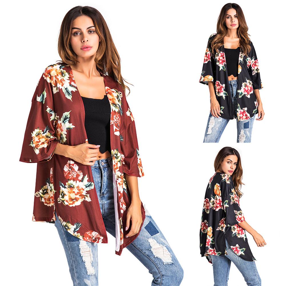 Sexy Women Long Sleeve Cardigan Printing Tops Coat Outwear