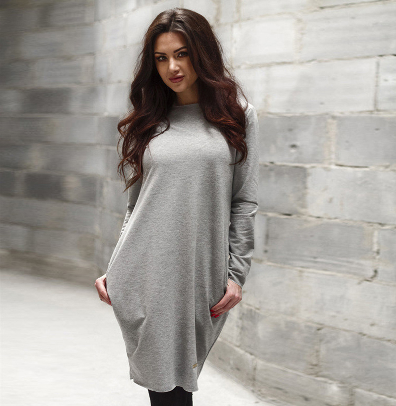 Autumn Winter Sexy Women Long Sleeve Loose Party Shirt Mini Dress Red Black Grey