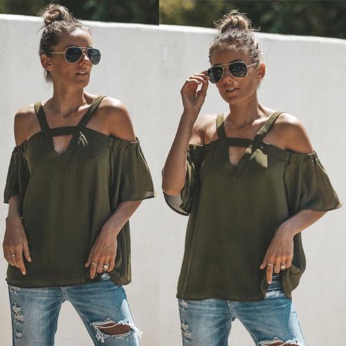 Women Lady Summer Loose Off Shoulder Tops Short Sleeve Tops Sling V Collar Tunic Blouse S-XL