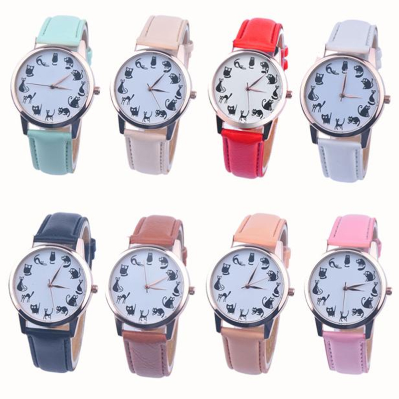 Women Casual Watch Cat Dial Leather Stainless Steel Analog Quartz Wrist Watches