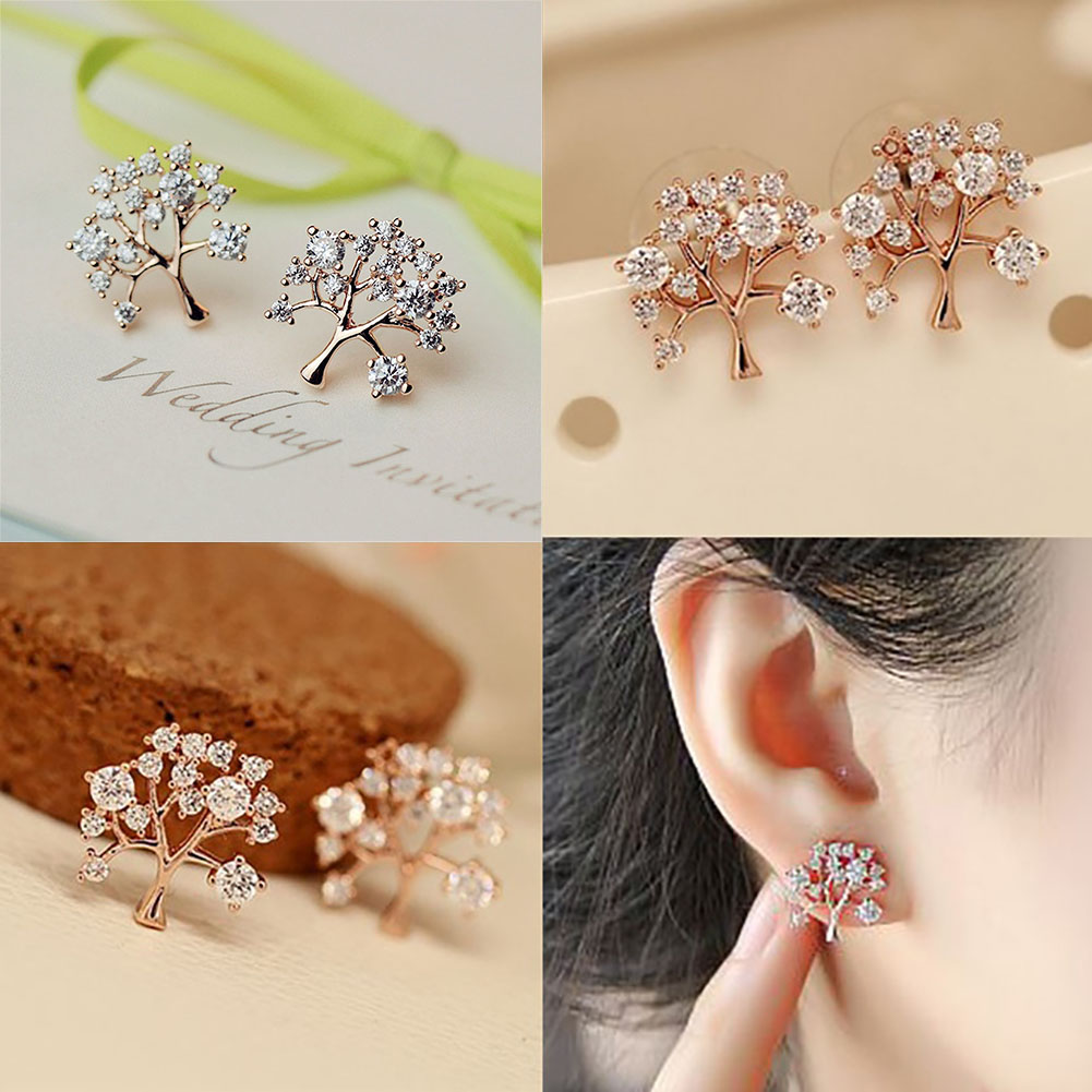 High Quality Women Unique Design Zircon Christmas Tree 925 Silver Earring Shiny Diamond Rhinestone Ear Stud Jewelry Gift
