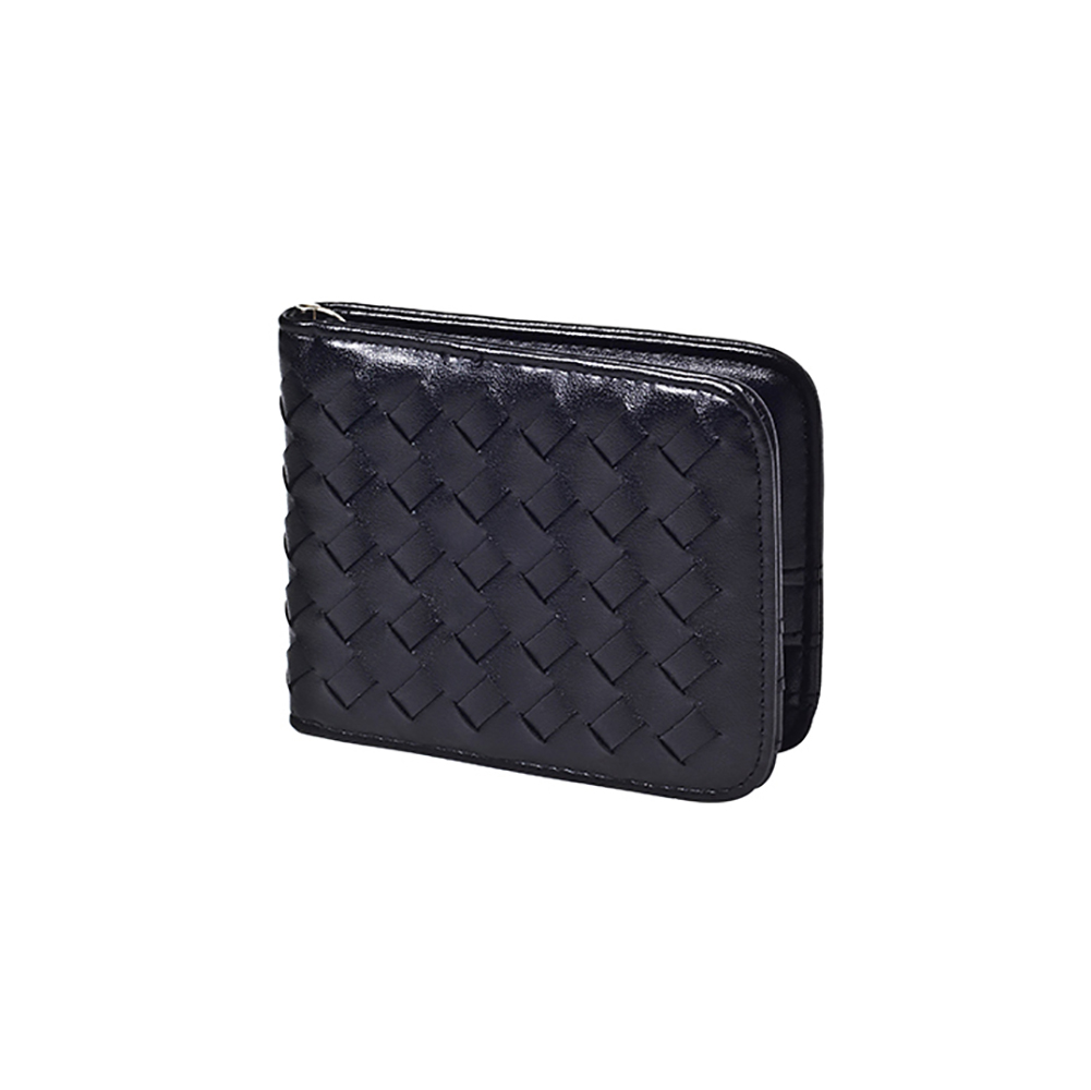 Fashion Unisex Weaving Short Wallet Passport Cover Large Fresh-capacity Business Card Holder Purses