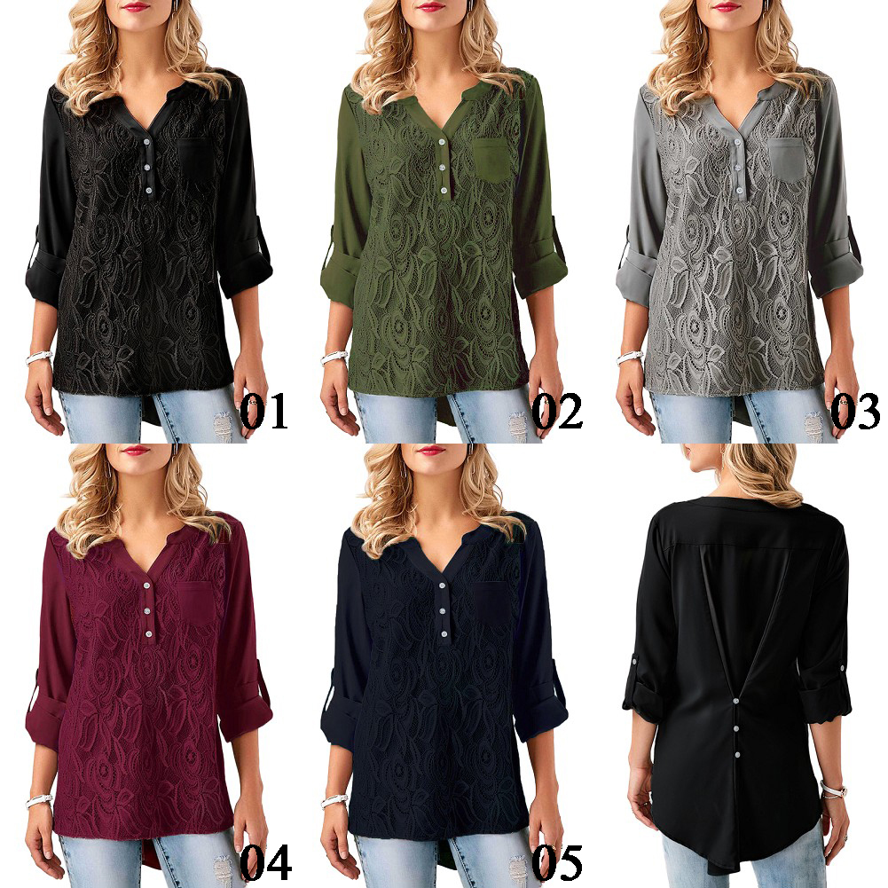 Women Fashion Plus Size Loose Tops Casual 3/4 Sleeve Blouses T-Shirt
