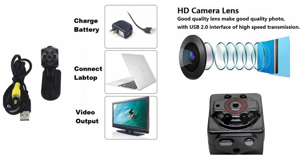 Mini DV Camera 1080P Full HD Car Sports IR Night Vision DVR Video Recorder SQ8